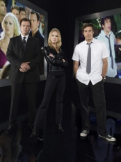 Adam Baldwin, Zachary Levi & Sarah Lancaster in Chuck - NBC Photo: Mitchell Haaseth