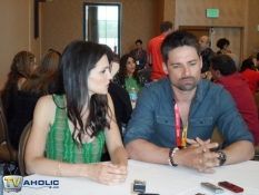 Laura Mennell and Warren Christie of Syfy\'s Alphas