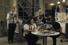 "DO NOT DISTURB: Larry (Jesse Tyler Ferguson, L), Molly (Jolene Purdy, second from L), Nicole (Molly Stanton, third from L) and Billy (Ronreaco Lee, R) read about a co-workers sexual exploits at work in the DO NOT DISTURB  series premiere episode ""Work Sex\"" airing Wednesday, Sept. 10 (9:30-10:00 PM ET/PT) on FOX. ©2008 Fox Broadcasting Co. Cr: Ray Mickshaw/FOX"
