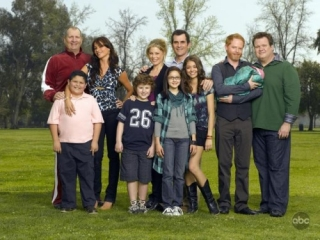 Modern Family -- Pictured (l-r): Ed O'Neill, Rico Rodriguez, Sofia Vergara, Nolan Gould, Julie Bowen, Ariel Winter, Ty Burrell, Sarah Hyland, Jesse Tyler Ferguson and Eric Stonestreet. -- ABC Photo: Bob D'Amico