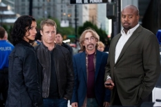 Indira Varma (L) joins the cast with Mark Valley (second from L), Jackie Earle Haley (second from R), and Chi McBride (R) in the Human Target S.2 premiere.