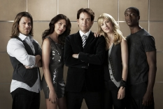 Christian Kane, Gina Bellman, Timothy Hutton, Beth Riesgraf & Aldis Hodge of Leverage on TNT