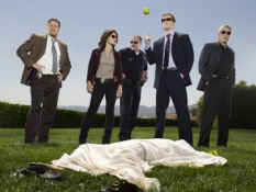 LIFE -- Pictured: (l-r) Donal Logue as Captain Kevin Tidwell, Sarah Shahi as Dani Reese, Brent Sexton as Bobby Stark, Damian Lewis as Charlie Crews, Adam Arkin as Ted Earley -- NBC Photo: Mitchell Haaseth