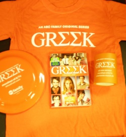 Greek Prize Pack - DVD, T-Shirt, Frisbee & Drink Cozy