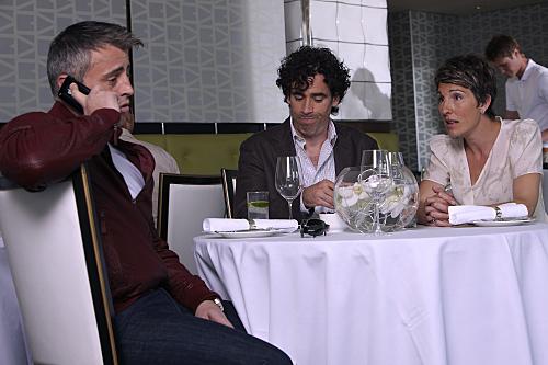 Matt LeBlanc, Stephen Mangan & Tamsin Greig in Episodes