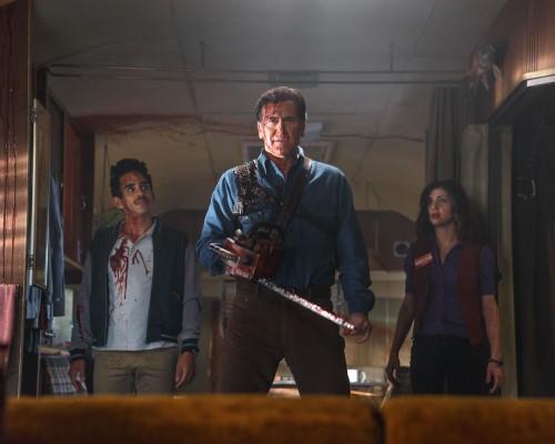 Photo of Santiago, Campbell & DeLorenzon in Starz's Ash vs Evil Dead