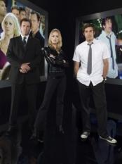 Adam Baldwin, Zachary Levi & Sarah Lancaster in Chuck - NBC Photo: Mitchell Haaseth