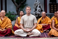 Chance\'s (Mark Valley, L) daily meditation is interrupted by Ilsa Pucci in the Human Target S.2 premiere.