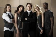 Christian Kane, Gina Bellman, Timothy Hutton, Beth Riesgraf & Aldis Hodge of Leverage on TNT