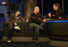 The Fight Quest Guys as Spike is about to punch one on Talkshow With Spike Feresten on FOX - CR: Carin Baer/FOX
